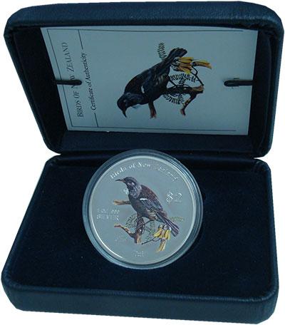 Изображение Подарочные монеты Острова Кука 2 доллара 2005 Серебро Proof Птицы Новой Зеландии