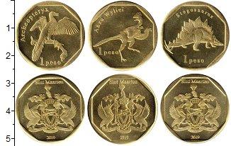 Изображение Наборы монет Нидерланды Динозавры 2019 Латунь UNC Синт-Мартен. UNUSUAL