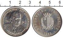 Изображение Монеты Мальта 2 лиры 1989 Серебро UNC-