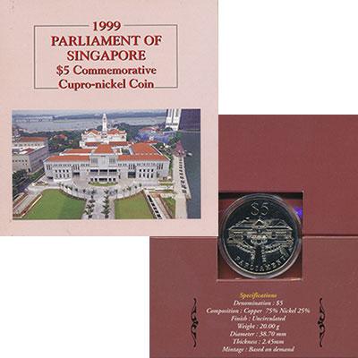 Изображение Подарочные монеты Сингапур 5 долларов 1999 Медно-никель UNC Парламент