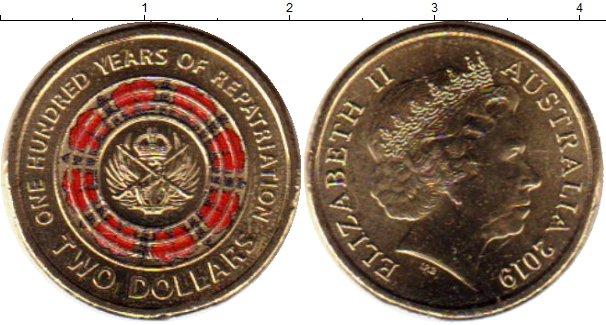 Картинка Мелочь Австралия 2 доллара Позолота 2019