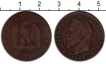 Изображение Монеты Франция 5 сантим 1863 Бронза VF