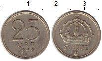 Изображение Монеты Швеция 25 эре 1949 Серебро XF