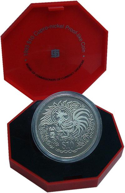 Изображение Монеты Сингапур 10 долларов 1993 Медно-никель Proof Год  Петуха