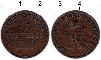 Изображение Монеты Германия Рейсс-Шляйц 3 пфеннига 1862 Медь XF