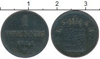 Изображение Монеты Германия Саксен-Майнинген 1 пфенниг 1854 Медь VF