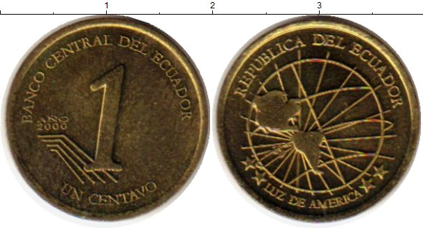 Монета Эквадор 1 сентаво Латунь 2000 UNC- 2