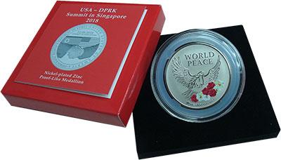 Изображение Подарочные монеты Сингапур Медаль 2018 Никель Prooflike Памятная медаль посв
