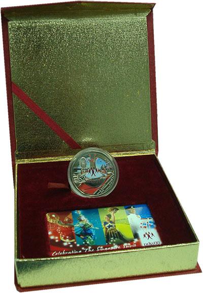 Изображение Подарочные монеты Сингапур 2 доллара 2008 Медно-никель Proof 43 года Независимост