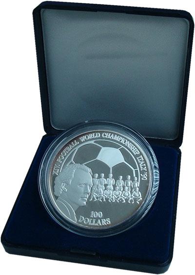 Изображение Подарочные монеты Ниуэ 100 долларов 1990 Серебро Proof- Чемпионат мира по фу