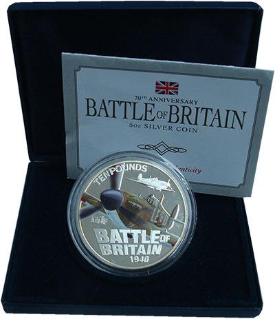 Изображение Подарочные монеты Гернси 10 фунтов 2010 Серебро Proof 70 лет битве за Брит