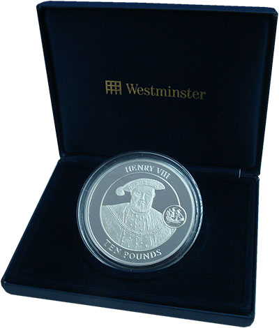 Изображение Подарочные монеты Гибралтар 10 фунтов 2009 Серебро Proof Генрих VIII. Серебро