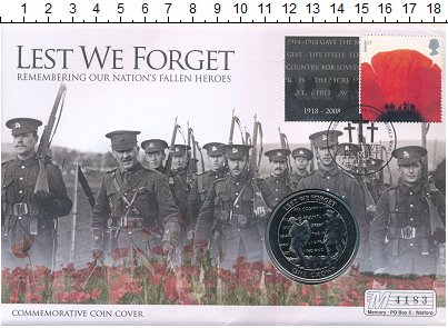 Изображение Подарочные монеты Гибралтар 1 крона 2008 Медно-никель UNC 90 лет окончания Пер
