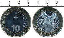 Монета Швейцария 10 франков Биметалл 2019 UNC фото