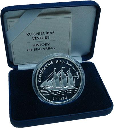 Изображение Монеты Латвия 10 лат 1995 Серебро Proof `Военно-морская исто