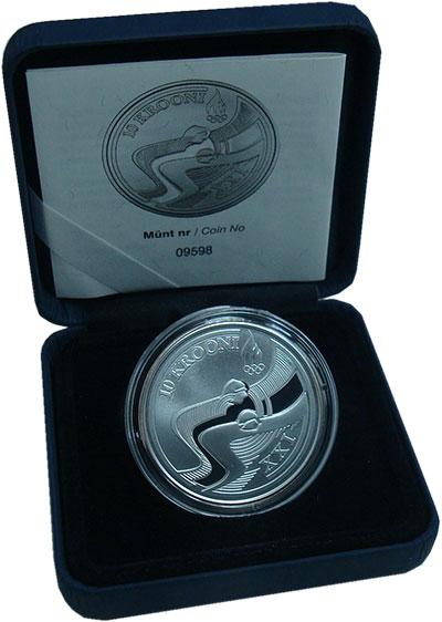 Изображение Монеты Эстония 10 крон 2010 Серебро Proof Зимняя  Олимпиада 20