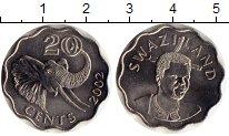 Изображение Монеты Свазиленд 20 центов 2002 Медно-никель UNC