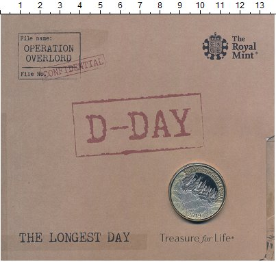 Изображение Подарочные монеты Великобритания 2 фунта 2019 Биметалл UNC D-Day - 75 лет. Ориг