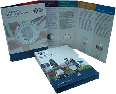 Изображение Подарочные монеты Великобритания 50 пенсов 2019 Медно-никель UNC Набор из пяти монет