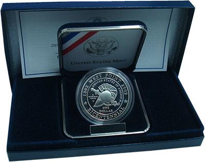 Изображение Монеты США 1 доллар 2002 Серебро Proof 200-летие военной ак