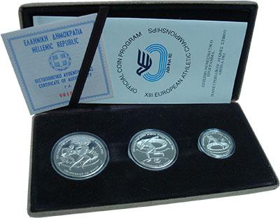 Изображение Подарочные монеты Греция Пан-Европейские игры Афины 1982 1982 Серебро Proof В подарочный набор,