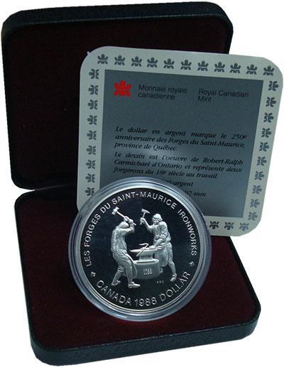 Изображение Монеты Канада 1 доллар 1988 Серебро Proof Кузнецы.<br>Оригина