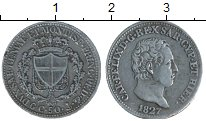 Изображение Монеты Италия Сардиния 50 сентим 1827 Серебро XF