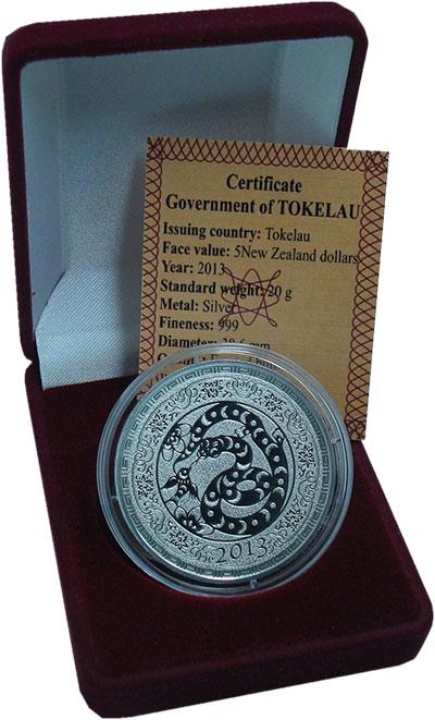 Изображение Монеты Токелау 5 долларов 2013 Серебро UNC Елизавета II.  Год