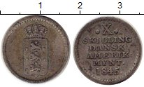 Изображение Монеты Дания Датская Вест-Индия 10 скиллингов 1845 Серебро XF
