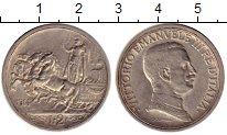 Монета Италия 2 лиры Серебро 1914 XF фото
