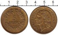 Монета Франция 5 франков Латунь 1946 XF