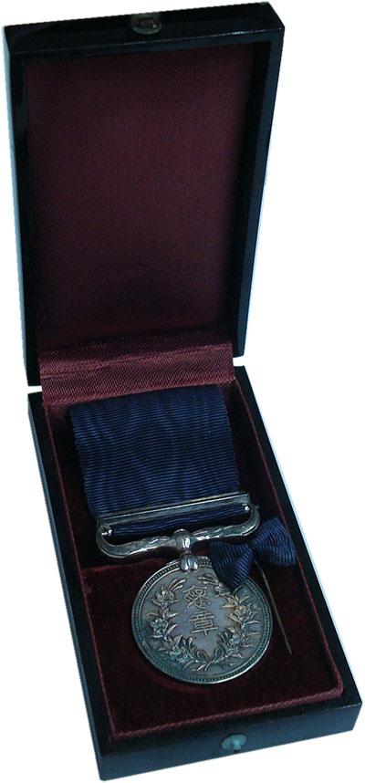 Изображение Подарочные монеты Япония Медаль 1918 Серебро UNC- Медаль Почёта на тем