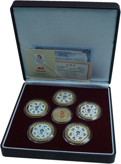 Изображение Подарочные монеты Китай Талисманы олимпиады в Пекине 2008  UNC Набор из шести жетон
