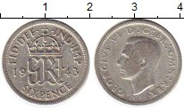 Изображение Монеты Великобритания 6 пенсов 1943 Серебро VF