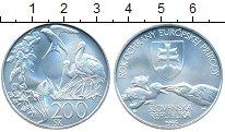 Монета Словакия 200 крон Серебро 1995 UNC фото