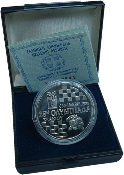 Изображение Подарочные монеты Греция 500 драхм 1988 Серебро Proof- 28 шахматная олимпиа