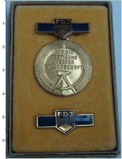 Изображение Подарочные монеты ГДР За дружбу 0 Латунь XF `Знак ``За дружбу``