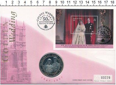 Изображение Монеты Теркc и Кайкос 5 крон 1997 Медно-никель UNC 50 лет свадьбы Елиза