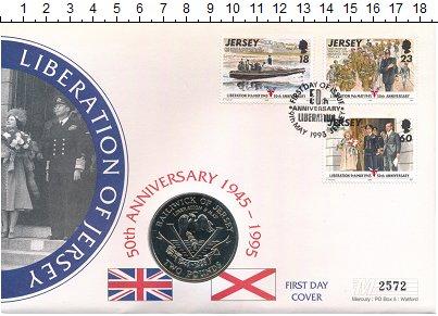 Изображение Монеты Остров Джерси 2 фунта 1995 Медно-никель UNC Елизавета II.  50  л