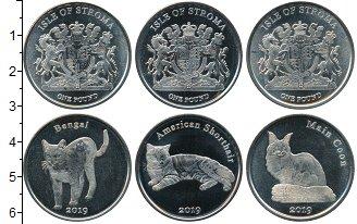 Изображение Наборы монет Шотландия Остров Строма 2019 Медно-никель UNC UNUSUAL. Три монеты