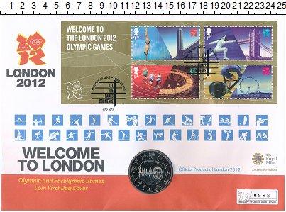 Изображение Монеты Великобритания 5 фунтов 2012 Медно-никель BUNC Елизавета II. Олимпи