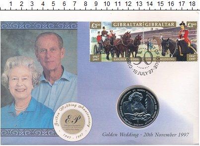 Изображение Подарочные монеты Гибралтар 1 крона 1997 Медно-никель UNC 50 лет Свадьбы Елиза