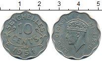 Монета Сейшелы 10 центов Медно-никель 1951 XF+ фото