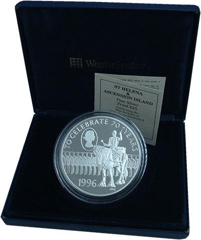 Изображение Подарочные монеты Остров Святой Елены 25 фунтов 1996 Серебро Proof- 70 лет со дня рожден