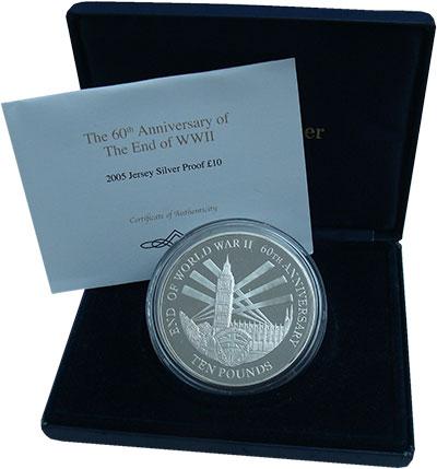 Изображение Подарочные монеты Остров Джерси 10 фунтов 2005 Серебро Proof 60 лет окончания Вто
