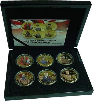Изображение Подарочные монеты Тристан-да-Кунья Военные герои Британии 2010 Медно-никель Proof Набор из шести монет