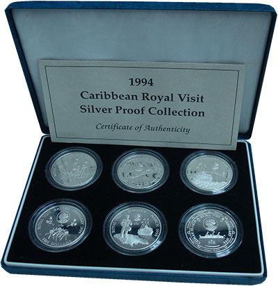 Изображение Подарочные монеты Карибы Визит Елизаветы II 1994 Серебро Proof Набор посвящен визит