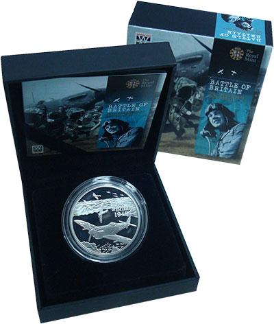 Изображение Подарочные монеты Олдерни 5 фунтов 2010 Серебро Proof 70 лет Битве за Брит