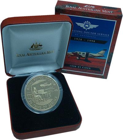 Изображение Подарочные монеты Австралия 5 долларов 1998 Латунь Proof 70 лет Службе воздуш