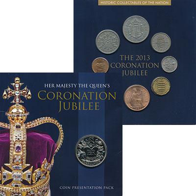 Изображение Подарочные монеты Гернси 5 фунтов 2013 Медно-никель UNC 60 лет коронации Ели